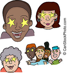 Different people with stars in their eyes