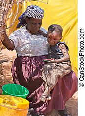 starsza kobieta, afrykanin