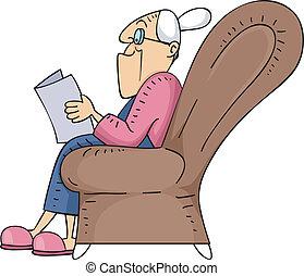 starsza kobieta, czytanie