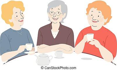 starsza kobieta, kawa, ilustracja
