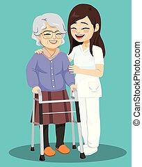 starsza kobieta, pielęgnować, samica, pomoc