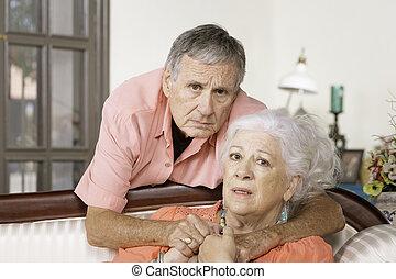 starsza kobieta, przewrócić, człowiek