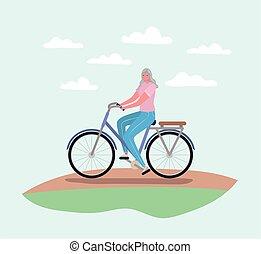 starsza kobieta, rysunek, projektować, rower jeżdżenie, wektor
