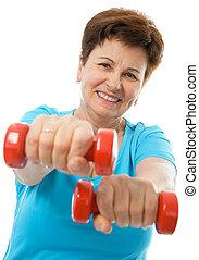 starsza kobieta, w, sala gimnastyczna