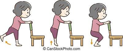 starsza kobieta, wykonując, krzesło
