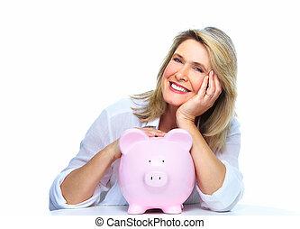 starsza kobieta, z, świnka, bank.