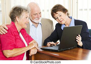 starsza para, -, finansowy, porada