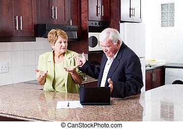 starsza para, posiadanie, argument, na, wydatek