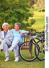 starsza para, z, ich, rowery
