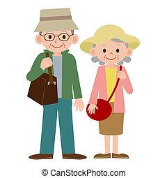 starsza para, zakochany