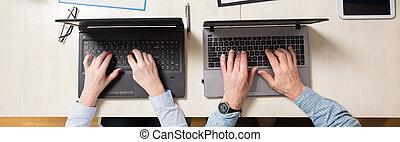 starsze ludzie, używając, technologia