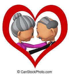 starsze ludzie, w, love3d