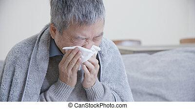 starszy, chory człowiek, kichnięcie, asian