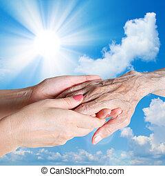 starszy człowiek, kobieta, z, ich, caregiver.