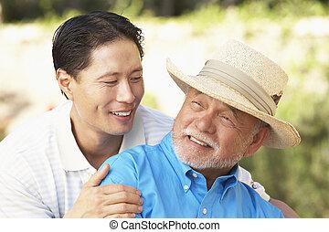starszy człowiek, ogród, dorosły, syn