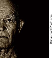 starszy, człowiek, twarz, na, blask, tło