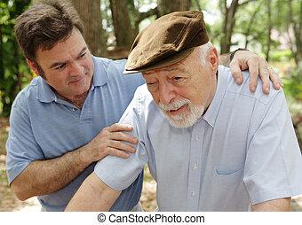 starszy człowiek, &, zmartwiony, syn