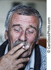 starszy, papieros, wspólny, palenie, wąsy, człowiek