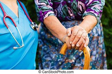 starszy, parkinson's, choroba