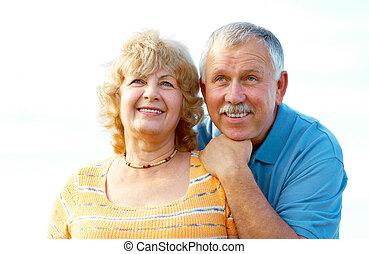 starszy, seniorzy, para