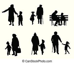 starszy, wnuki, ludzie