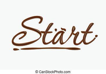 start, čokoláda, text