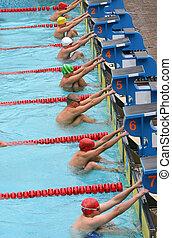Start 3 - Start of the backstroke final