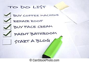 Start a blog - To do list with start a blog