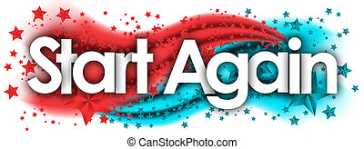 Start Again word in stars colored background
