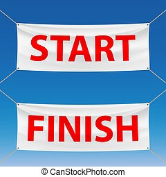 start and finish - Set of banners with the words start and...