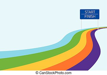 Start and finish line with colorful path