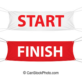 Start and Finish textile banner template. Vector Illustration