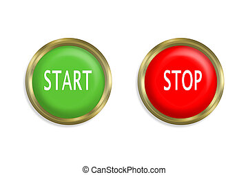 start and stop button on white background