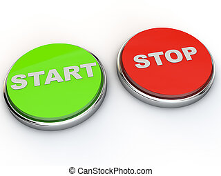 Start and Stop button over white background