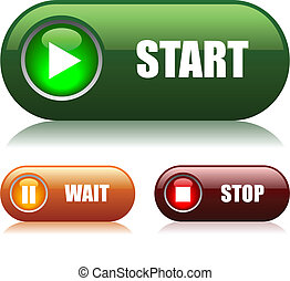 Start and stop buttons - Start and stop vector buttons