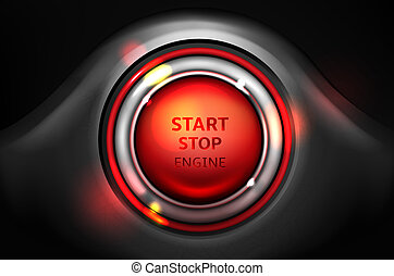 Start and stop engine vector car ignition button