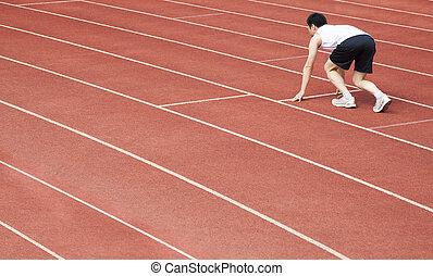 start, athlet, linie, stadion, junger