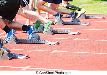 Start athletes from Athletics starting blocks - Athletics...