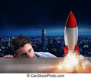 start, av, a, färsk, företag, med, startande, rocket., begrepp, av, ny affärsverksamhet