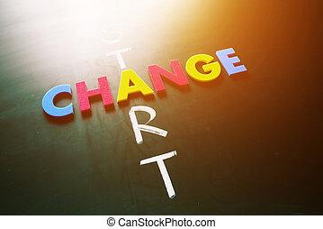 start, begriff, änderung, tafel