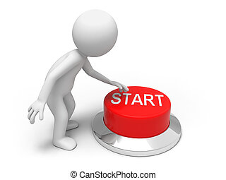 Start button - A man is pushing the button