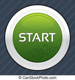 Start button. Green round sticker.