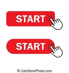 Hand cursor clicks Start button - Start button Icon. Hand...
