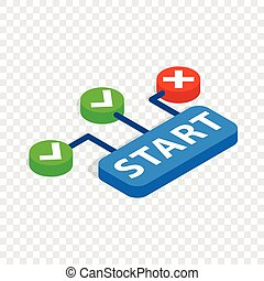 Start button isometric icon 3d on a transparent background...