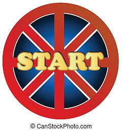 Start button - New start button on a white background