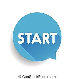 Start button speech bubble blue