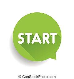 Start button speech bubble green