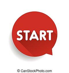 Start button speech bubble red