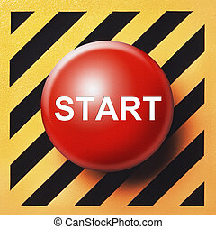 Start button - start button in red on yellow and black back...