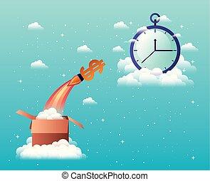 start, chronometer, op, raket